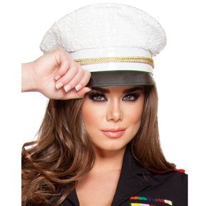White Sequin Sailor Hat